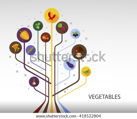 Vegetables flat concept with long shadow effect icon for Web, Presentations and Mobile Application.