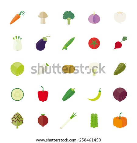 Vegetables Flat Icons Vector Icon Set. Collection of 25 vegetables flat design icons isolated on white background. - stock vector