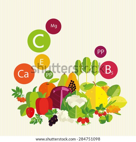 Vegetables, fruit and vitamins. Stylized composition. - stock vector
