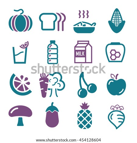 vegetables, fruit icon set