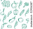 Vegetables hand drawn seamless pattern - stock vector