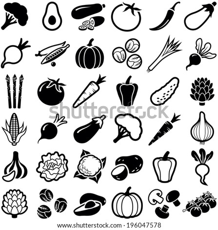 Vegetables icon collection - vector illustration - stock vector