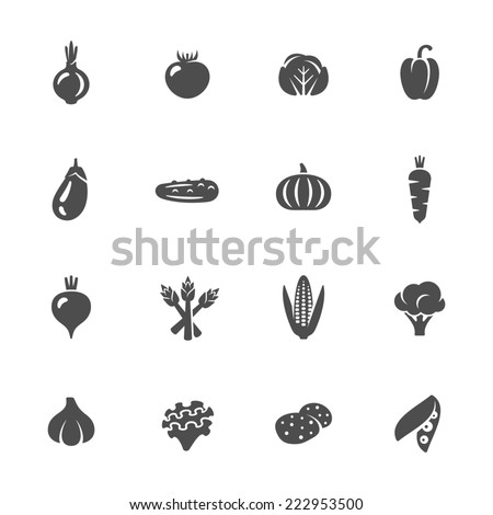 Vegetables icon set - stock vector