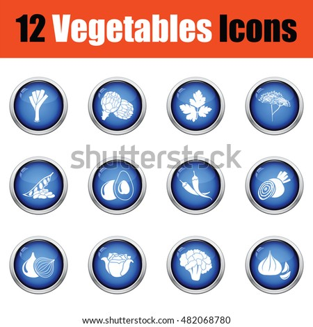 Vegetables icon set.  Glossy button design. Vector illustration.