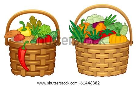 Vegetables in basket - stock vector