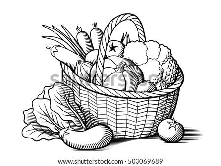 Vegetables Wicker Basket Stylized Black White Stock Vector ...
