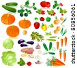 vegetables isolated collection - stock vector