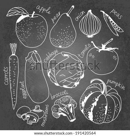 Vegetables on chalkboard in vector set: apple, pear, onion, peas, carrots, eggplant, cabbage, tomato, mushrooms, broccoli, pumpkin - stock vector