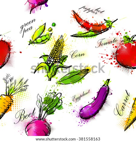 Vegetables Seamless background. Vector