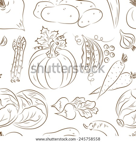 Vegetables seamless pattern. Vegetables black and white background. Beets, potatoes, asparagus, garlic, pumpkin, green peas, carrots, cabbage, radish, hot pepper chili
