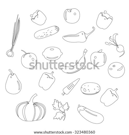 Vegetables set, black and white, vegetables and fruit outline, all elements isolated on whit background. Vector illustration. - stock vector