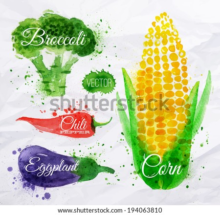 Vegetables set drawn watercolor blots and stains with a spray corn, broccoli, chili, eggplant - stock vector