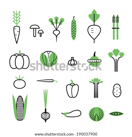 Vegetables set. Icons with White Background. Isolated