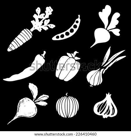 Vegetables silhouettes set, funny hand drawn icons isolated on a black background. Art logo design - stock vector