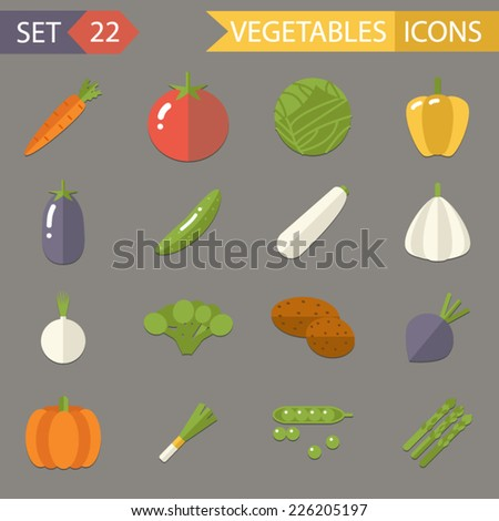 Vegetables Symbols Healthy and Healthsome Food Icons Set Trendy Modern Flat Design Template Vector Illustration