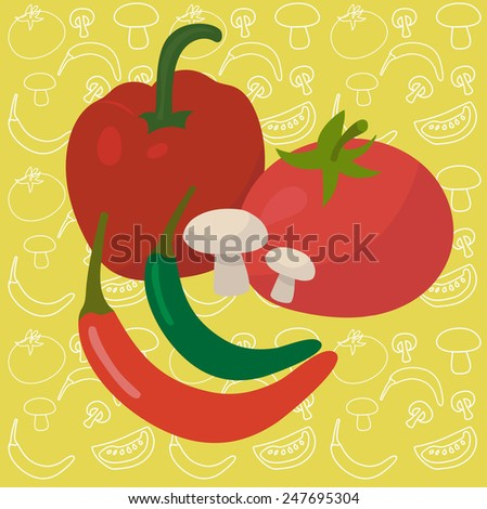 Vegetables - tomato, capsicum or sweet pepper, chili peppers, mushrooms - on yellow-green vegetables seamless background - stock vector