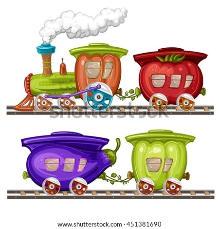 Vegetables trains, wagons and rails - stock vector