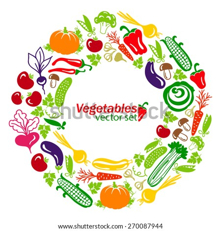 vegetables vector colored icons on a white background