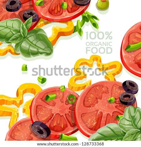 Vegetarian background 100% organic natural food fresh - stock vector