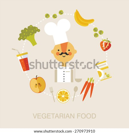 Vegetarian chef.  Vegetarian food. flat icons of vegetables, fruits, smoothies, cereals - stock vector