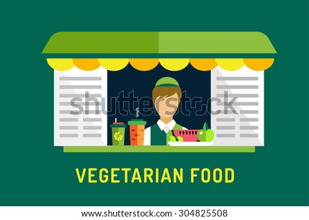 Vegetarian city food restaurant. Food object icons set. Man silhouette. Nature products, vitamins, restaurant, kitchen, green vegetables, food market. Fast food worker man silhouette. Vegan food - stock vector
