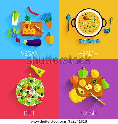Vegetarian food, Diet, Fresh and Healthy food and Salads banners. Eating natural products, fruits and vegetables, carrot, cabbage, vitamins. Salad with pineapple and banana, eggplant and pepper - stock vector