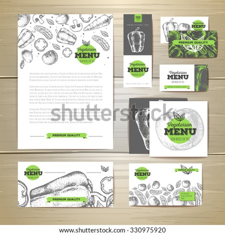 Vegetarian food menu design. Corporate identity. Document template - stock vector