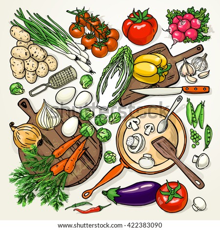 Vegetarian food recipes template vegetables kitchenware stock vector vegetarian food recipes template with vegetables and kitchenware colorful top view cooking items forumfinder Choice Image