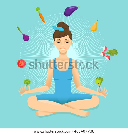 Vegetarian girl meditates in the lotus position. Vector illustration on the theme of vegetarianism.