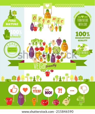 Vegetarian infographics and illustrations funny doodle set. Flat style. Vector illustration - stock vector