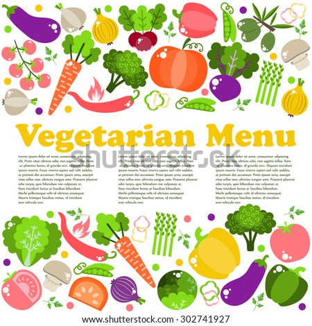 Vegetarian menus of restaurants, cooking, recipes, fruits and vegetables. The concept of healthy nutrition and healthy life. Flat design. Vector illustration