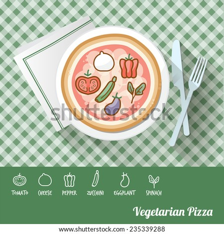 Vegetarian pizza on a dish with icon ingredients and recipe name at bottom - stock vector