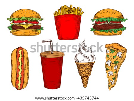 Vegetarian pizza with mushrooms and cheese sketch icon served with fast food hamburger, cheeseburger and hot dog sandwiches, french fries, takeaway cup of soda and vanilla ice cream cone
