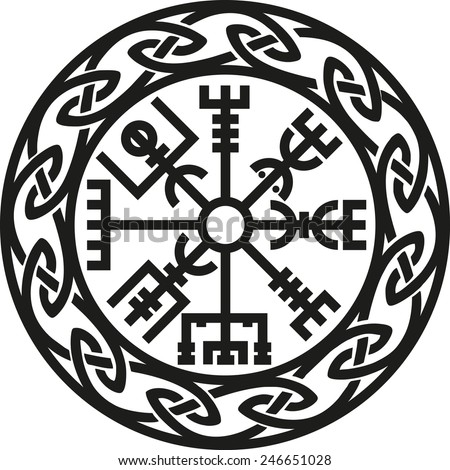 Vegvisir, Icelandic Compass, Protection - stock vector