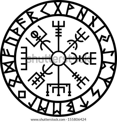 Vegvisir, Icelandic Navigation Compass - stock vector