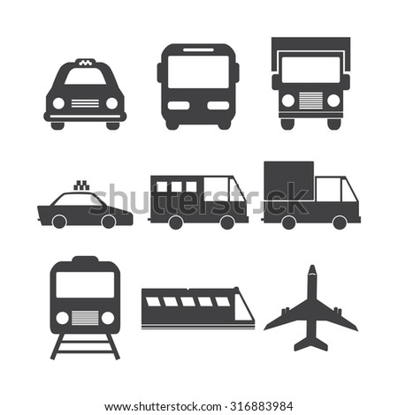 Vehicle and transport icons set. - stock vector