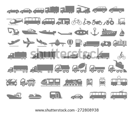 Vehicle and Transportation flat icon set. Vector flat design illustration.  - stock vector