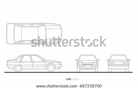 Vehicle Car Drawing Outline Vector Plan, Front, Side