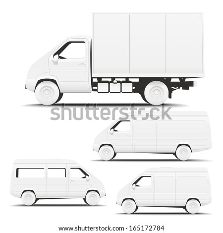 Vehicle Commercial. Illustration of types of commercial vehicles side for applying corporate identity. - stock vector