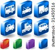 Vehicle 3D Buttons : Set of blue transportation isometric icons with drop shadow and  a variety of color options. - stock vector