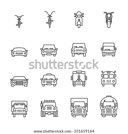 Vehicle icon sets. Line icons. - stock vector