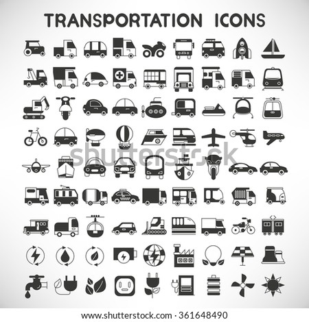 vehicle icons set, transportation icons - stock vector