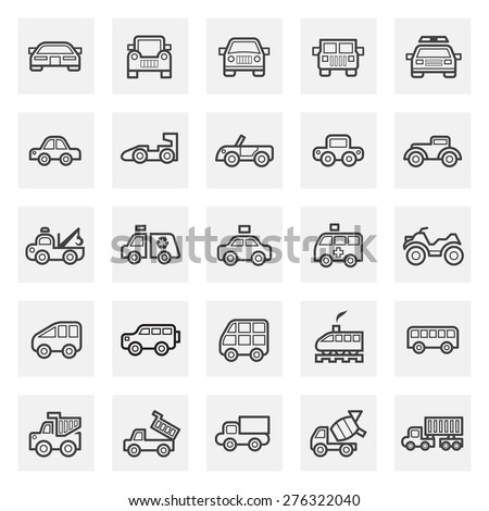 Vehicle icons sets. - stock vector