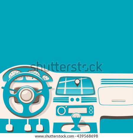 Vehicle interior. Inside car. Vector cartoon illustration. Car poster. Cartoon style. Driver behind the wheel - stock vector