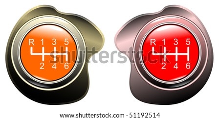 Vehicle's gear orange and red colletion on white background eps10 - stock vector