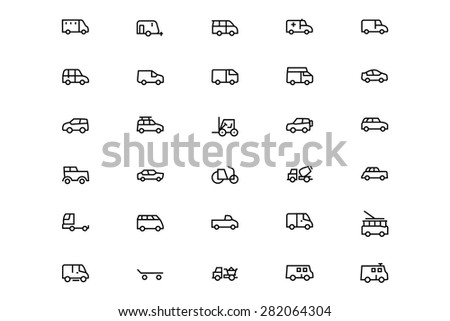 Vehicles Line Vector Icons 2 - stock vector