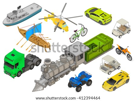 Vehicles set of isometric flat vector 3d illustrations - modern coupe car, yacht, fishing boat, sailboat, yellow helicopter, retro locomotive, bicycle, cargo truck, quad ATV bike. Transport types kit. - stock vector