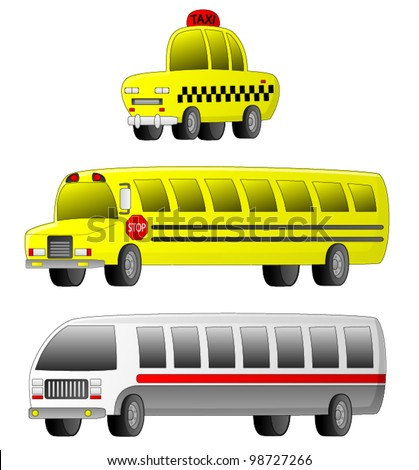 Vehicles - Transportation A set of 3 transportation vehicles (Taxi, School Bus and City Bus).
