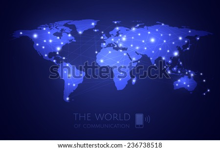 Vektor world map and communications  - stock vector