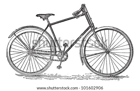 Velocipede bicycle, vintage engraved illustration. Dictionary of words and things - Larive and Fleury - 1895.